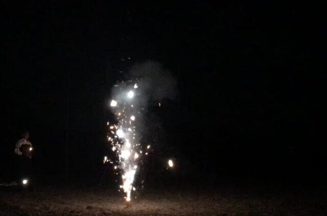 噴出花火「4M噴出」を実際に使用した様子